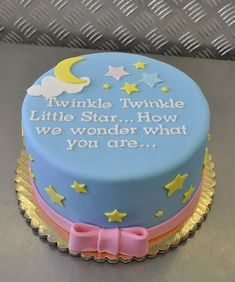 "I would put ""Who you are"" instead of ""what you are"" cos unless I'm mistaken, it's very likely ""it"" will be a baby of some description...""Twinkle, Twinkle, Little Star ... How we wonder what you are ..."" Gender Reveal Cake"