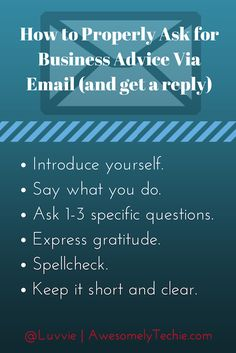 How To Properly Ask for Business Advice Via Email (and get a reply) | Awesomely Techie