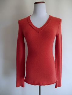 NEW INHABIT SMOCKED SALMON CASHMERE BLEND V-NECK SWEATER MEDIUM #INHABIT #VNeck