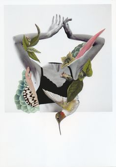 Bird #collage #handmade #nature #botanical #human #body #portrait #RocioMontoya