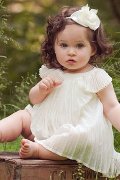 Adorable pleated dress for baby girl :)