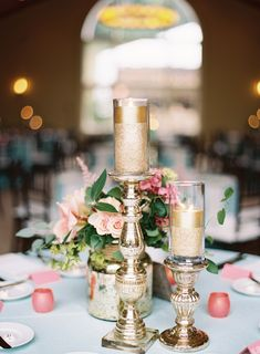 Blush and Gold Centerpieces with Gold Pillar Candles Candle Centerpieces, Wedding Centerpieces, Wedding Table, Our Wedding, Dream Wedding, Wedding Ideas, Trendy Wedding, Centrepieces, Wedding Reception