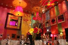 Erin and Jimmy celebrated their colorful and festive wedding at Carnivale in Chicago. Wedding DJ and lighting provided by MDM Entertainment. Wedding Dj, Wedding Ideas, Sunflower Colors, Event Lighting, Chicago Restaurants, October Wedding, Chicago Wedding, 50th Birthday, Wedding Centerpieces