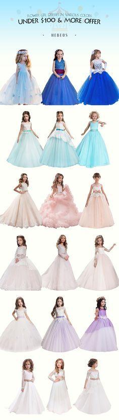 Lovely flower girl dresses under $100! Cheap junior bridesmaid dresses on sale! via #Hebeos