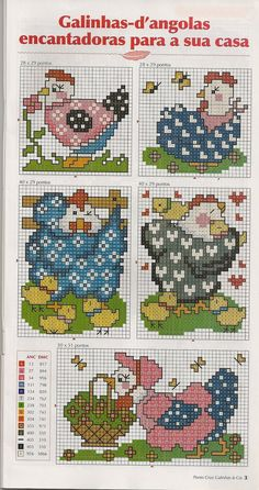 Galinha da angola gráficos ponto cruz, Angola chicken cross stitch charts, Angola pollo cruzó cartas puntada, Αγκόλα σταυρό κοτόπουλο διαγράμματα βελονιά, Angola tavuk kanaviçe çizelgeleri, Angola croisées de poulet Les Grilles