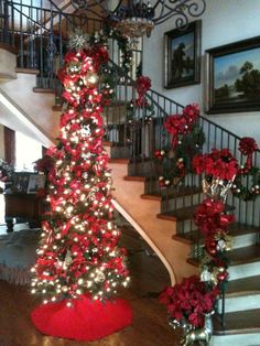 Stairways really look good with some Christmas decor. See what lights we have at http://www.christmaslightingsupply.com/shop-online/led-christmas-lights/100
