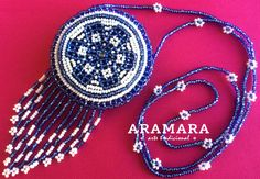 Mexican Huichol Beaded Flower Necklace Medicine Pouch  by Aramara