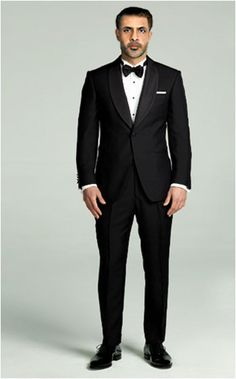 Classically styled and dapper. This well put together tuxedo with a silk shawl collar satin tape on the side of the pants highlights the natural shoulder and 1-button features that will help you stand out on occasion.  $395.00