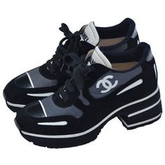 9526b962 Preowned Chanel 1997 Platform Black/white Shoes Sneakers New 38.5 ($1,430)  ❤ l