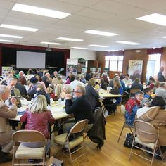 Lunch gathering in the parish hall.