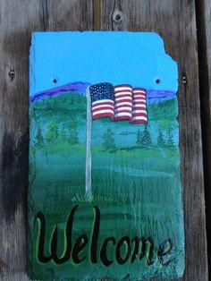 American flag painted on slate
