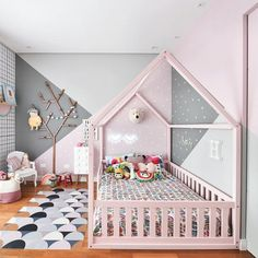 A gray and pink nursery modern, soft and delicate. Vinyl carpets a A gray and pink nursery modern soft and delicate. Vinyl carpets are also called play mats in children's rooms room Baby Bedroom, Baby Room Decor, Nursery Room, Bedroom Decor, Bedroom Ideas, Ikea Girls Bedroom, Bed Room, Nursery Ideas, Wall Decor