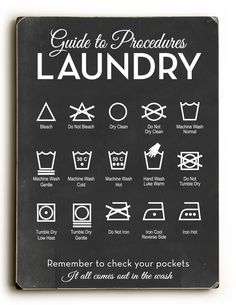 Guide to Procedures: Laundry Retro Mid Century Laundry Room Symbols Rules Sign Decor Art Wall Mid-Century 2019 Guide to Procedures: Laundry Retro Mid Century Laundry House Cleaning Tips, Deep Cleaning, Cleaning Hacks, Cleaning Room, Daily Cleaning, Organize Life, Laundry Symbols, Laundry Icons, Do It Yourself Inspiration