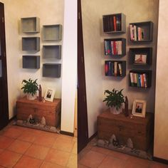 #homemadebookcase #wineboxes #transformation #satisfaction #books #colours #grey