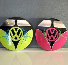VW Bus hand painted vintage vw rabbit hubcaps hubcap art by Vane Pinstriping