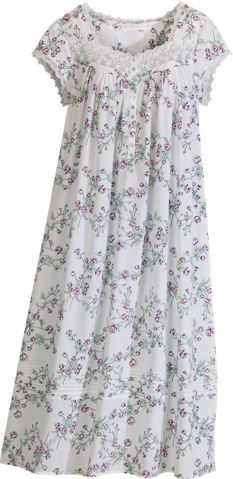 Cotton Lawn Eileen West Nightgown with Embroidered Lace