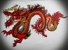 Awesome red gold and black dragon drawn by by AranaARTnDESIGN