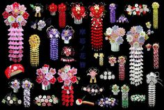lovely kanzashi hair ornaments from Japan. In modern day Japan, fabric ornaments are typically worn with kimono on special occasions. Fabric Ornaments, Hair Ornaments, Ribbon Art, Ribbon Crafts, Fleurs Kanzashi, Cultures Du Monde, Geisha Hair, Japanese Hairstyle, Hair Decorations