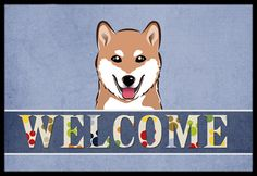 Shiba Inu Welcome Indoor or Outdoor Mat 18x27 BB1411MAT