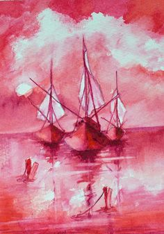 Red Sails Painting  - Red Sails Fine Art Print