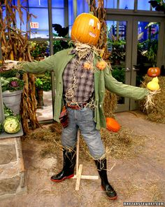 Funkin Scarecrows | Martha Stewart Living - Carve funkin faces with a craft saw or pumpkin-carving saw.