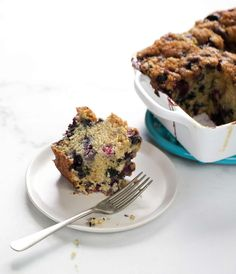 Cream-Glazed Blueberry Coffee Cake
