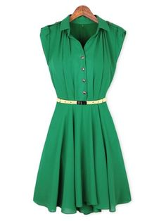 Charming Turn-Down Collar Single-Breasted Epaulet Embellished Back Zipper Chiffon Slimming Shirt Dress For Women, GREEN, M in Dresses 2014 | DressLily.com