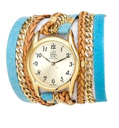 Tropical Blue Leather & Chain Wrap Watch