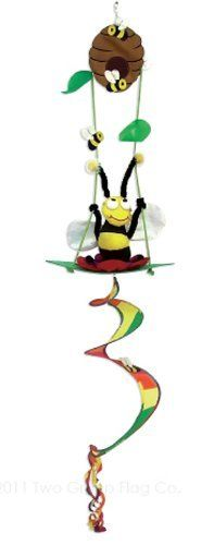 Sunshine Honey Bumble Bee Swinging on a Flower Under Bee Hive - Bright & Coloful Twister - Spinner - Windsock Hanging Garden Decorative Scuplture Decor 46 Inches Tall by Two Group Flags. $19.95. 46 Inches tall. Made of strong, 100% Polyester. Bright and Colorful. 3-D uniquely designed and expertly crafted fabic. Flag Pole NOT included.. Weather Proof Polyester Fabric, Tear Resistant and Specially Coated for Indoor or Outdoor. Save 20%!