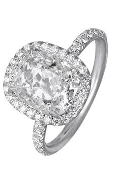 Trendy Diamond Rings : Cushion-Cut Diamond Engagement Ring; Engagement Ring featuring a 3.51 carat Cu