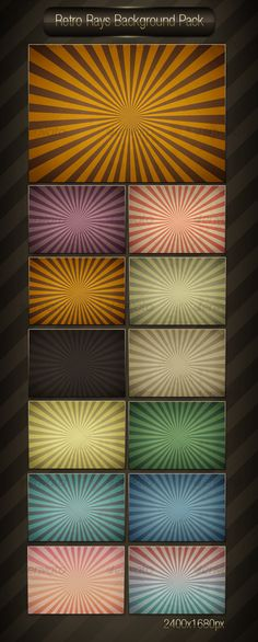 Retro Rays Background Pack - Backgrounds Graphics Background Images Wallpapers, Backgrounds, Creative Sketches, Background Templates, Paint Markers, Pencil Illustration, Business Card Logo, Watercolor And Ink, Painting & Drawing