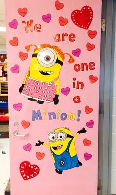 :could be cute Y kids are one in a minion.w/ minion valentines.next year! Valentines Day Bulletin Board, Fun Valentines Day Ideas, Valentines Day Decorations, Valentines Day Decor Classroom, Classroom Fun, Minion Classroom Door, February Bulletin Board Ideas, Minion Bulletin Board, Minions