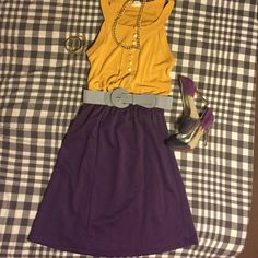 Skirt and tank outfit The top is like a mustard yellow. Size medium. The skirt is a rich plum color size 8 petite but I had no problem wearing when I was a 6 due to the elasticity in band. If you like the outfit I have only the heels available in my closet. Bundle and save :) Skirts