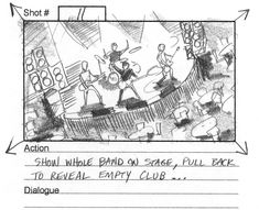 Frame from an old music video storyboard, pencil on paper. Show whole #bandonstage, then pull back to reveal #emptyclub. _ #rockband #bands #drummer #guitar #rockguitar #leadguitar #clubs #emptyspaces #musicvideo #musicvideos #director #filmcrew #storyboard #artist #storyboardartist #storyboards #drawing #drawings #filmmaking #filmmaker #preproduction #conceptart #filmproduction #illustrator #illustration Video Storyboard, Storyboard Artist, Music Videos, Old Music, Pre Production, Black And White Illustration, Films, Movies, Rock Bands