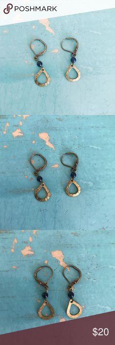 Dainty Gold Drop Earrings Dainty beaten gold drop earrings with blue bead. Jewelry Earrings
