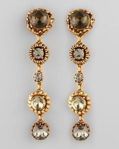 Five-Stone Floral Drop Earrings, Black  by Oscar de la Renta at Neiman Marcus.