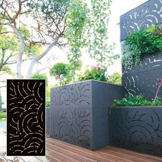 READY-TO-INSTALL no maintenance panels, for privacy &/or decoration. These Outdeco gardenscreen in Marakesh™ - Black were used in Karstan & Maxines terrace.