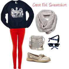 """""""Alpha Xi Delta Casual Style with Crest Foil Sweatshirt"""" by xiboutique on Polyvore available at xiboutique.com"""