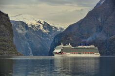 MV Britannia's first visit to Aurland Art Prints For Sale, Cruise Ships, Norway, Travel Photography, Europe, In This Moment, Fine Art, Mountains, Landscape
