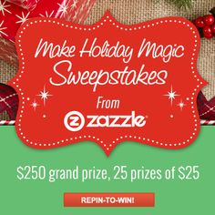 We want to know what you love with our Make Holiday Magic Pinterest Sweepstakes. What's your style? Are you a Crafty Gal or a Pun Guy? Make sure to repin this pin and 5 more pins from our board between December 6th and December 21st. We'll help you make holiday magic.  #zazzle #holiday #makeholidaymagic #sweepstakes