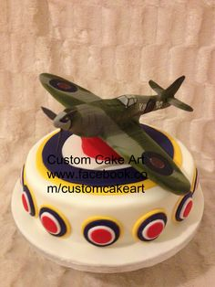 3D Spitfire Birthday cake by Andy Nuttall at Custom Cakes