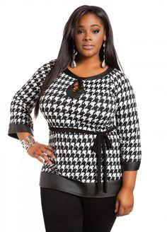 Curvy fashion: Ashley Stewart: Houndstooth Tunic with Faux Leather Big Girl Fashion, Curvy Fashion, Plus Size Fashion, Women's Fashion, African Fashion, Fashion Outfits, Plus Size Girls, Plus Size Tops, Plus Size Women