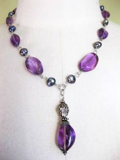 Amethyst Chunk, Sterling Silver  and peacock Pearls Drop Necklac