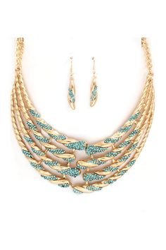 Crystal Isabella Necklace in Blue Teal