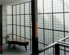 Maison de Verre by Pierre Chareau Paris, France 1931 industrial materials glass blocks rubber flooring steel beams rivets stairs are blocked off by glass doors materials express construction bedroom closets have access from bedroom and hallway side so servants can hang clothes with out going into bedroom