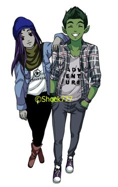 Modern Beast Boy and Raven as Boyfriend and Girlfriend