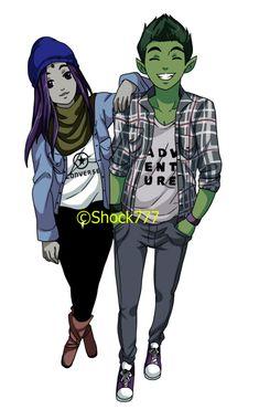 Modern Beast Boy and Raven as Boyfriend and Girlfriend