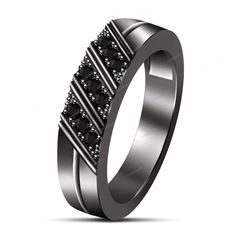 925 Silver Round Multi Stone IN Prong Set Men's Band Ring 14K Black Gold Finish…