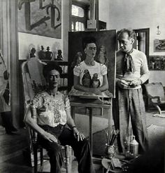 Frida Painting Me and My Parrots, 1939 (gelatin silver print)