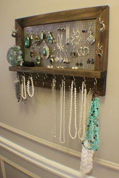 Amazing Ash Stained Wall Mounted Jewelry Organizer Display Necklace Holder Earring